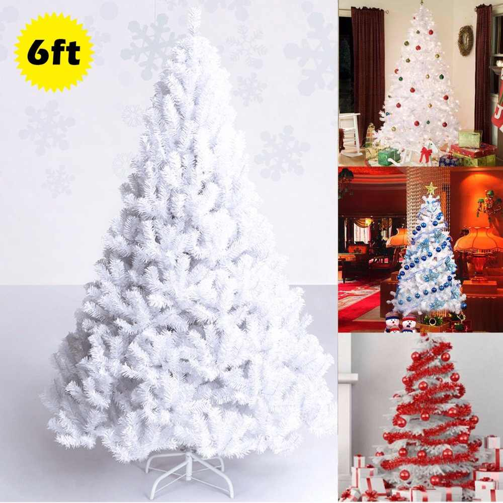 Goplus 6ft Artificial Pvc Christmas Tree W Stand Holiday Season Indoor Outdoor White New Year Decor Cm19734