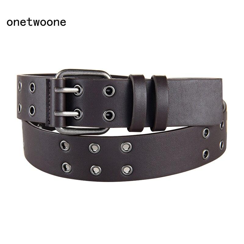 Haute qualité PU ceintures pour hommes femmes unisexe taille large ceintures Double boucle ardillon ceinture 120 140 cm taille ajustée noir marron pu ceintures