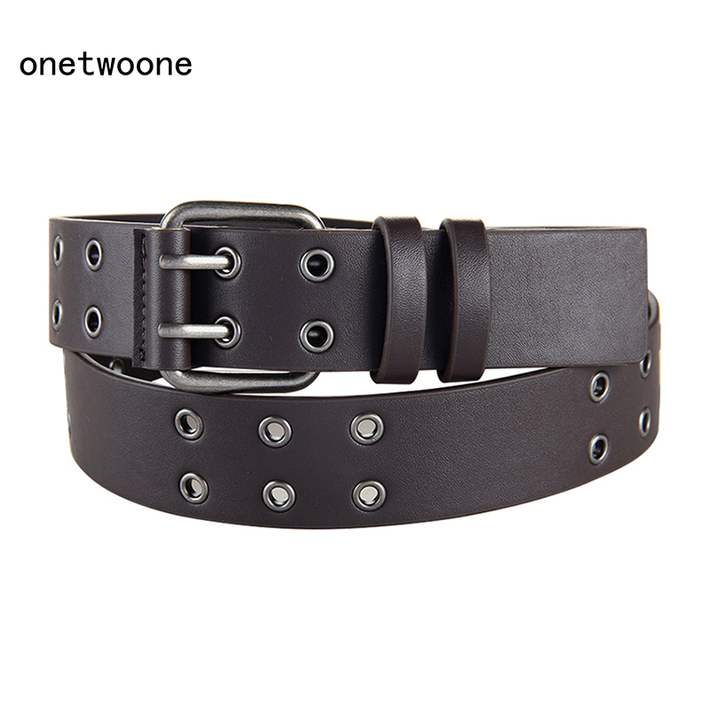 High Quality PU   Belts   For Men Women Unisex Wide Waist   Belts   Double Pin Buckle   Belt   120 140 cm size adjusted Black Brown pu   belts