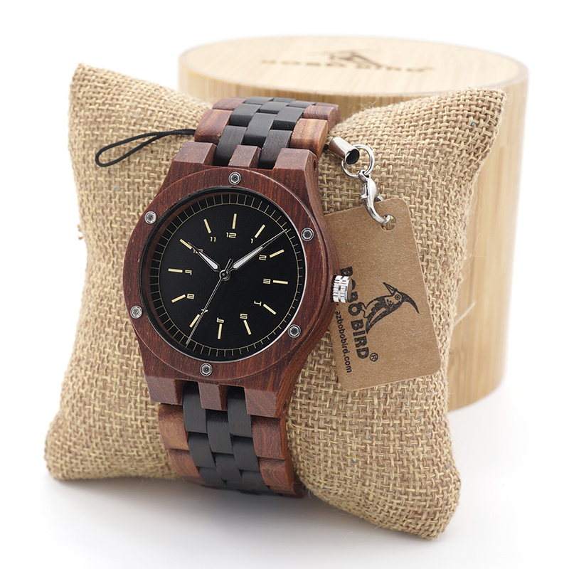 BOBO BIRD Unique Dial 100% Natural Red Sandal Wooden Watches Men's Wristwatch With Date Create Gift In Wood Box unique natural wood sunglasses