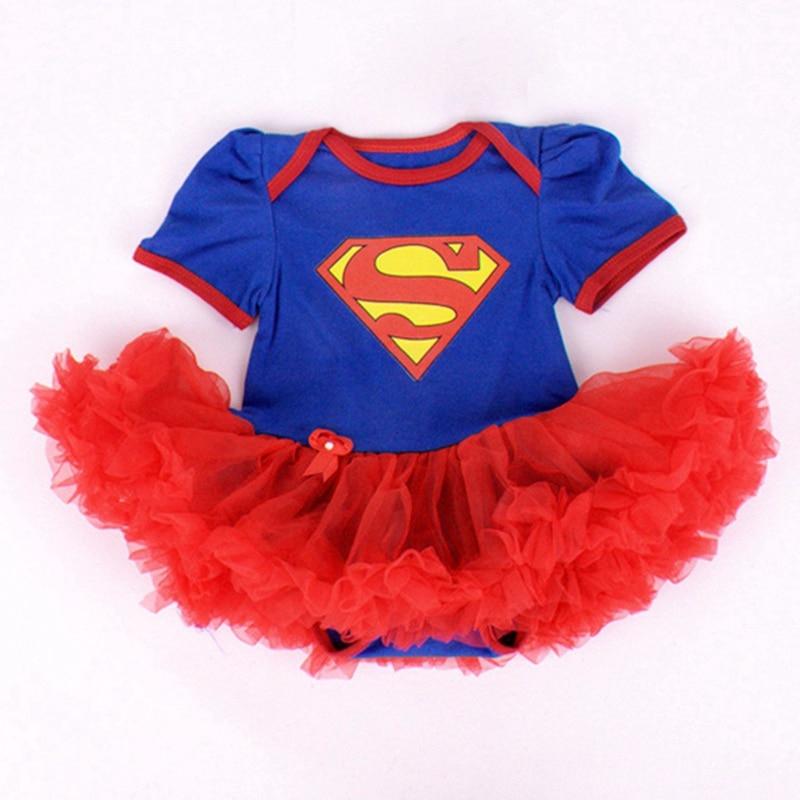 Mėlyna Supermenas Kūdikių kostiumai Nėriniai Petti Romper - Kūdikių drabužiai - Nuotrauka 3