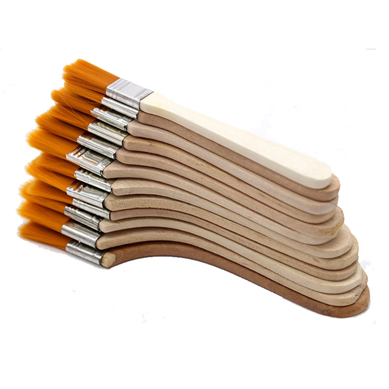 12pcs Set High quality nylon Mao Banshua oil painting brush BBQ brush for painting art Easy To Clean wooden cleaning brush in Paint Brushes from Office School Supplies