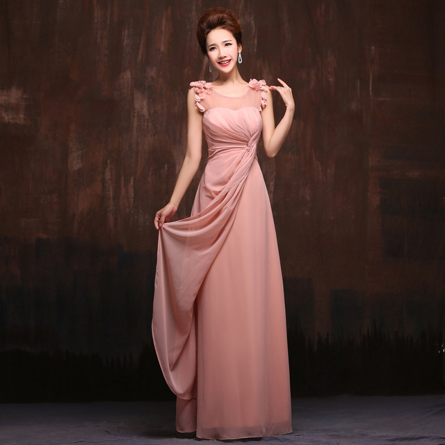 Bridesmaid Dress 2015 New Arrival The Bride Married Wedding Party Dress  Sweet Pink Chiffon Floor Length Dinner Prom Dress Custom 81b0292d9108