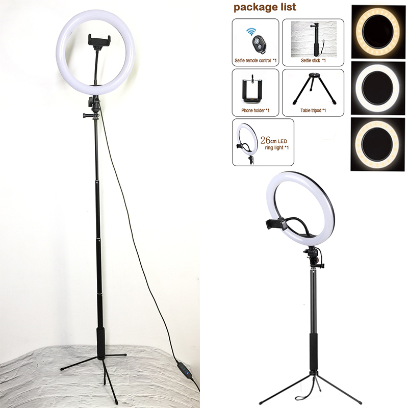 Selfie Ring Light 18W for Studio Photography Photo Fill Ring Light with Tripod Selfies Stick for iphone Smartphone Makeup in Photo Studio Accessories from Consumer Electronics