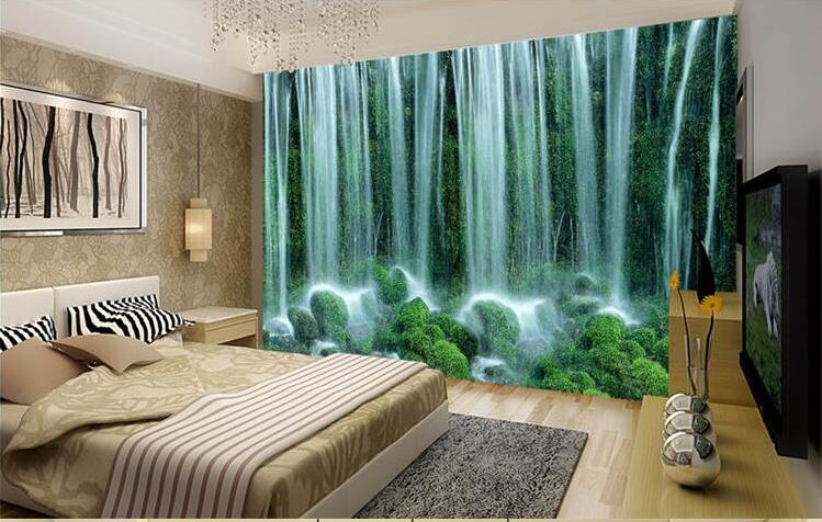 Large Water Making Money Feng Shui Mural Continental Waterfall Landscape Wallpaper The Living Room TV Backdrop Bedroom 3D In Wallpapers From Home