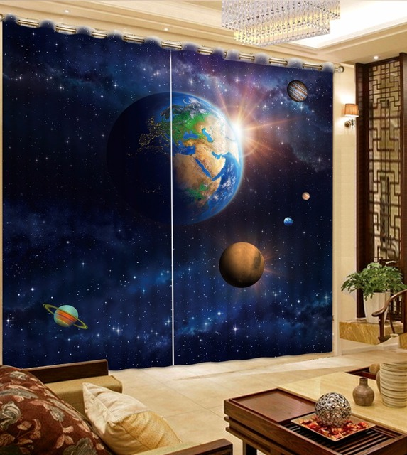 473ed1ec717 3D Curtain Custom Any Size Sky Planet Bed Room Living Room Office Hotel  Cortinas Blackout Curtain Fabric Printed Curtain