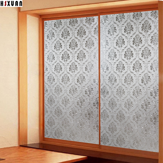 Decorative Window Privacy Film 80x100cm 3D Frosted Flower Sliding Glass Door  Static Opaque Window Stickers Hsxuan