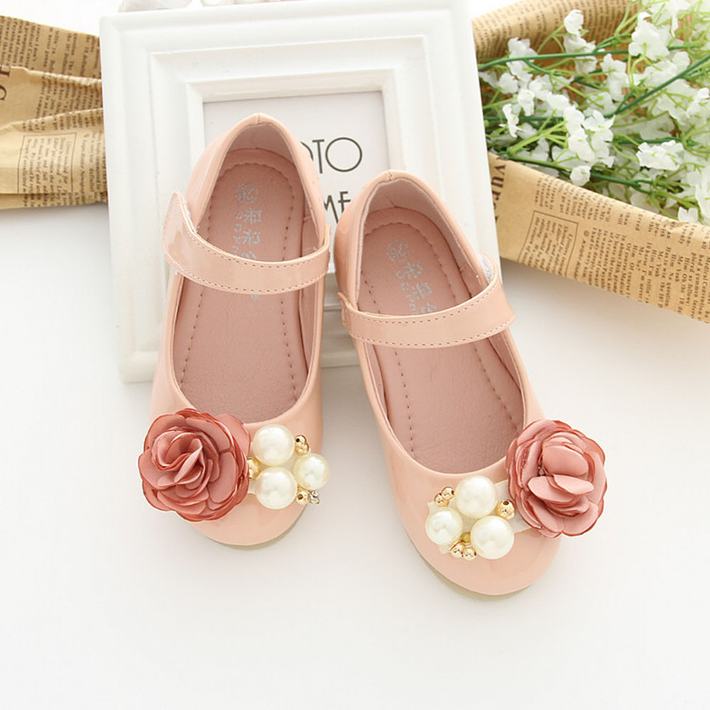 Mosaic Flowers Decoration Beaded Girls Shoes For Wedding Solid