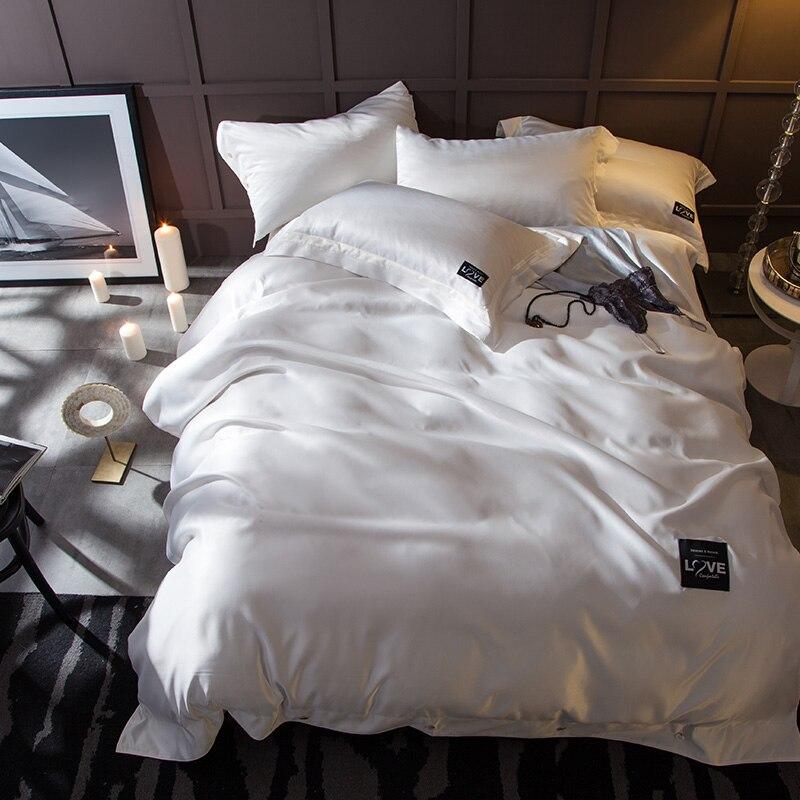 الأبيض رمادي الأخضر أسلوب مقتضب الملك الملكة حجم 4 قطع الفراش seting لينة الحرير أغطية غطاء سرير مجموعة غطاء لحاف المخدة-في مجموعات الفراش من المنزل والحديقة على  مجموعة 1