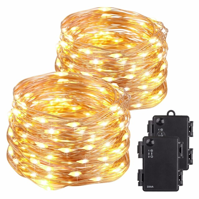 quality design 21e73 51822 US $11.99 |Kohree 2packs 40ft 120 LED String Lights Battery Powered Copper  Wire Light Outdoor Christmas Decoration Warm White-in Lighting Strings from  ...