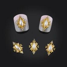 10 unids Diseño Marquise Rhinestones Del Arte Del Clavo de DIY Decoraciones Glitter Aleación de Oro Ala 3d Joyería Del Clavo Envío Gratis