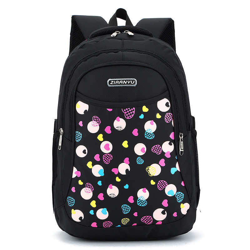 Nylon Women School Bags Orthopedic Backpack for Girls Heart Printing Schoolbags for Teenagers Boy Student Children BackPack