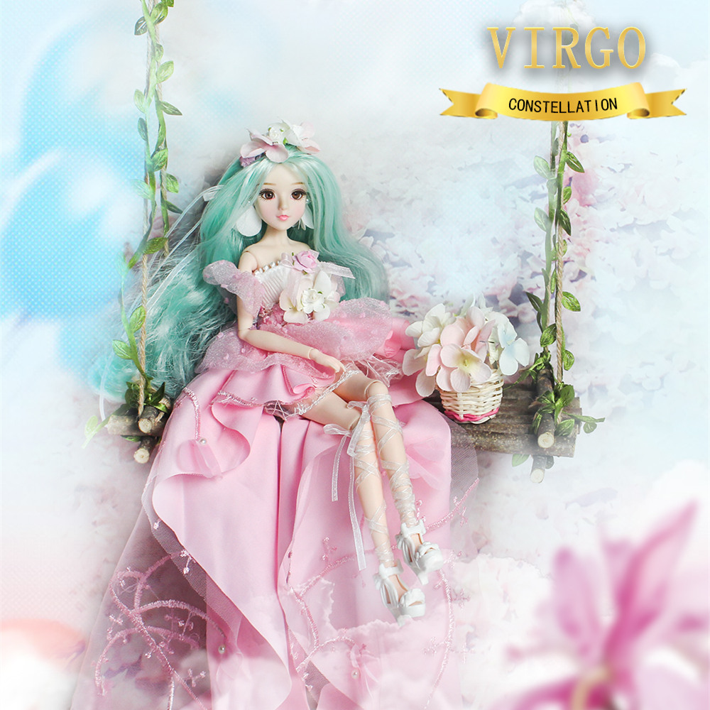 MMG Girl blyth doll BJD joint body 12 constellations virgo with outfit boots stand baby toy