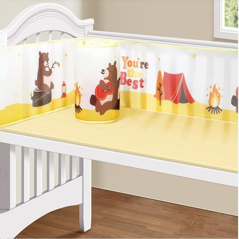 Mesh Cot Bumper Polyester Cartoon Patterns Newborn Summer Around Anti Collision Ventilation Lengthened Baby Bed Bumper Bedding
