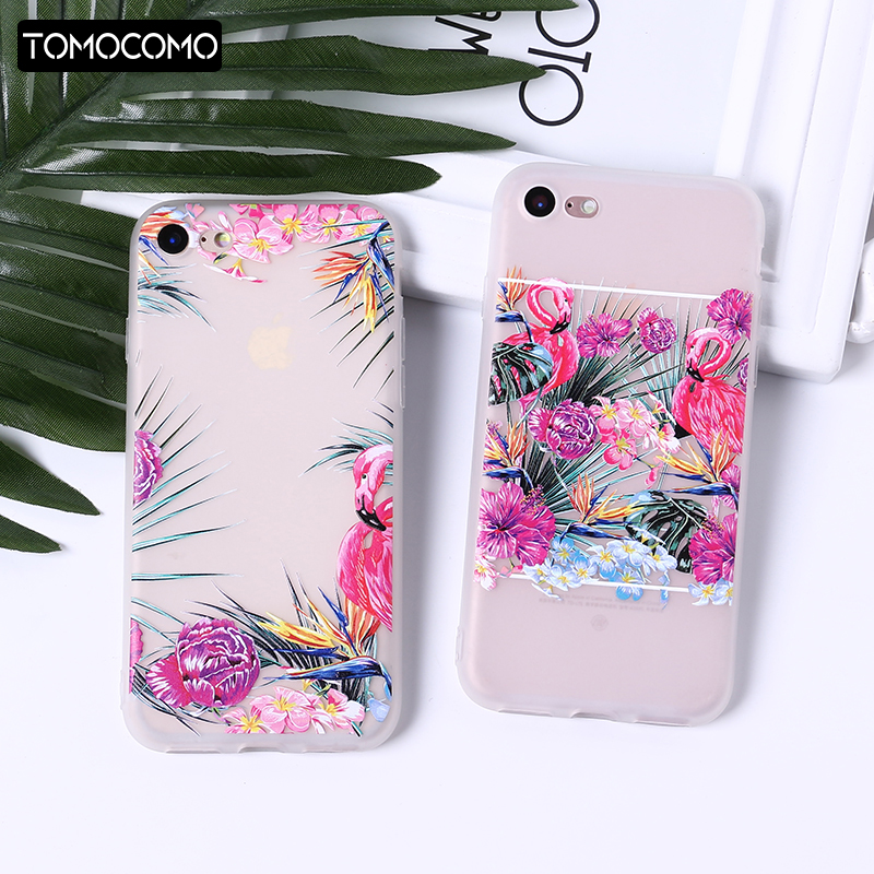 Galleria fotografica TOMOCOMO Phone Cases Summer Flamingos Love Soft Silicone Clear Case Cover for Apple IPhone 7 6 6S 8 Plus X 5S SE Coque Fundas