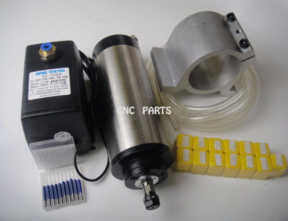 Husillo de fresado CNC ER11 1.5KW husillo de refrigeración por agua + bomba de agua + tubería de agua + soporte de husillo + pinzas ER11 + brocas de grabado cnc