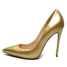 Elegant Gold Sliver High Heels Shoes Pointed Toe Women Pumps Genuine Leather Wedding Party Dress Shoes Size 4-13.5 C005B цена и фото