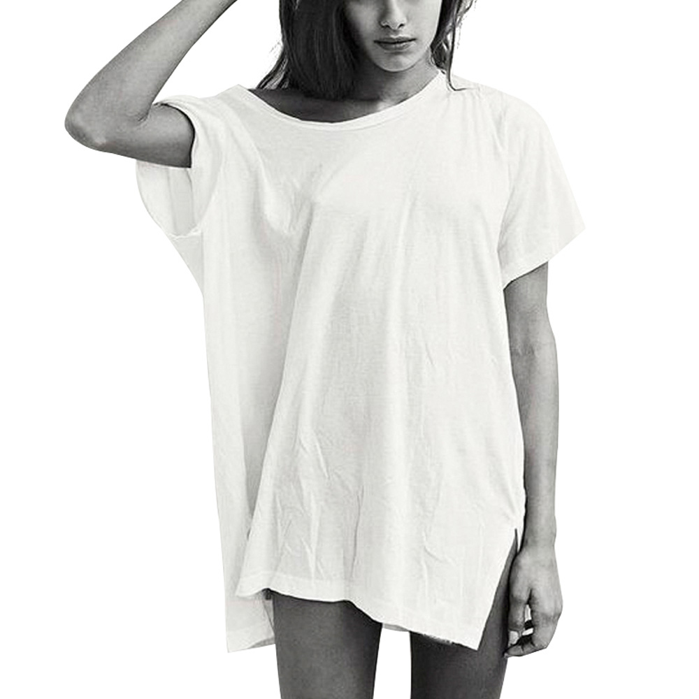 New Ladies Womens Oversized Baggy Stretchy Basic Plain Casual Jersey T Shirt Top