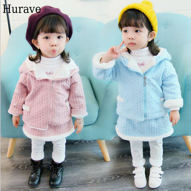 Hurave kids clothes Winter girl clothes with cashmere suit cute rabbit hooded jacket + stylish sweet skirt Two-piece suit cute puppy baby girl clothes set children hoodies 2017 winter new boy hooded cashmere sweater kids thick two piece suit