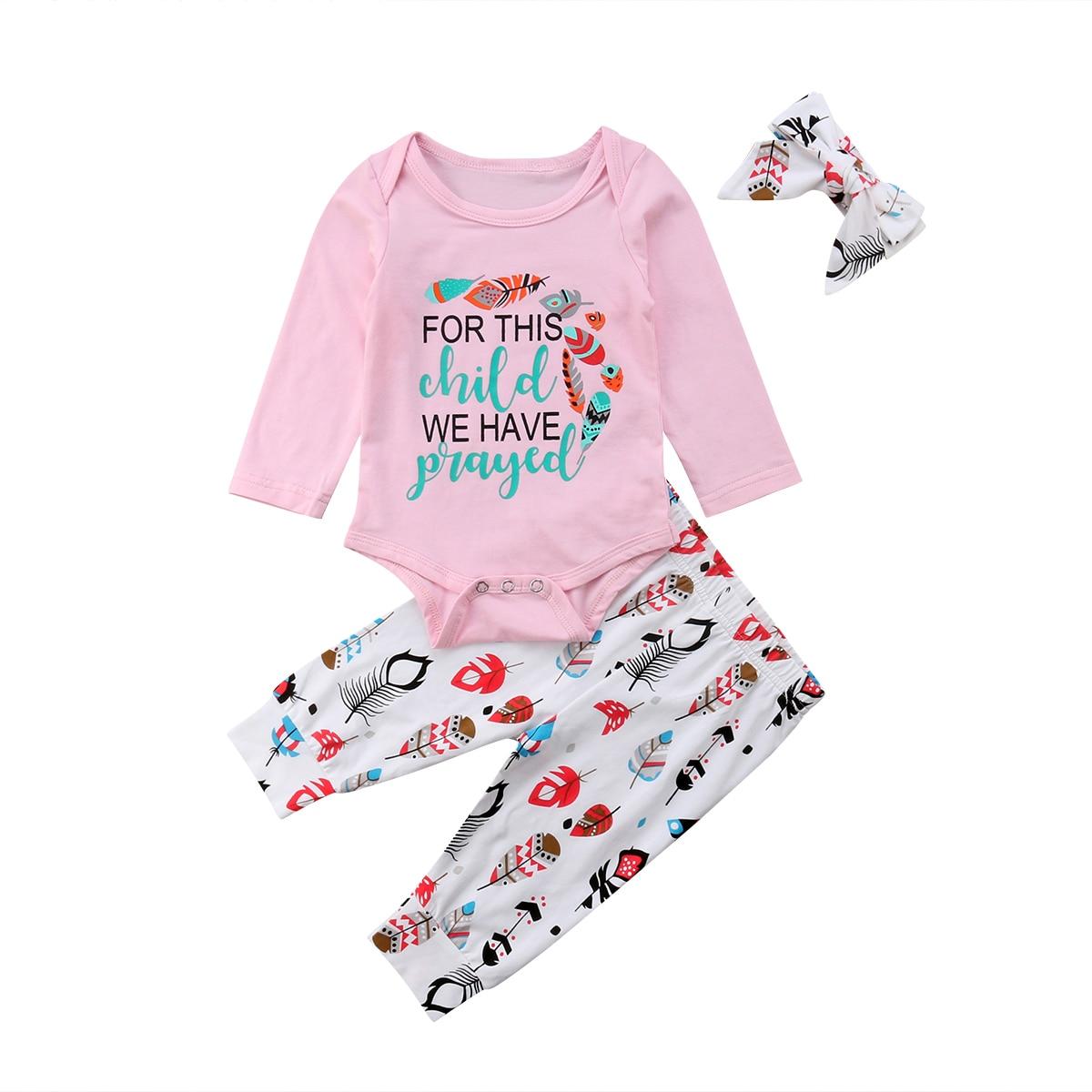 0-18 Mt Neugeborenes Baby Mädchen Langarm Baumwolle Strampler Tops + Druck Hose Legging Stirnband 3 Stücke Outfits Kleidung Set