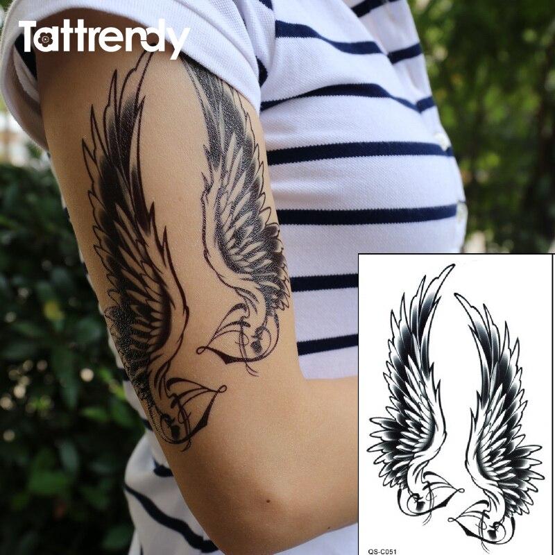 Us 096 37 Offflash Czarny Tatuaż Wodoodporne Kobiety Sexy Ramię Ramię Skrzydła Anioła Fałszywe Tatuaże Tymczasowe Naklejki Dla Mężczyzn W Dniu