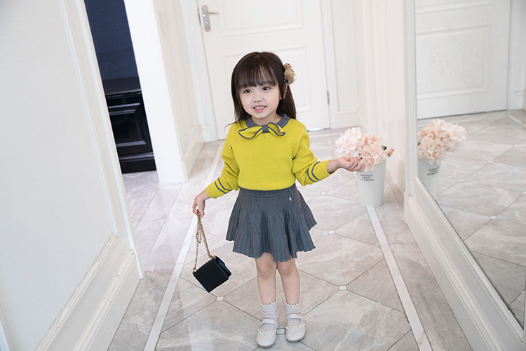 Image 3 - HE Hello Enjoy Toddler Girl Clothes Fashion Fall Boutique Kids Clothing Knit Pullover Sweater+Pleated Skirt Sets Winter Costume-in Clothing Sets from Mother & Kids