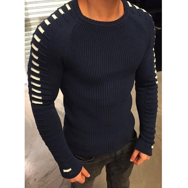 Winter Men Casual Warm Slim Sweater Knitted Striped Long Sleeve Patchwork Pullover Male Elastic Solid Sexy Spring Basic Tops   2