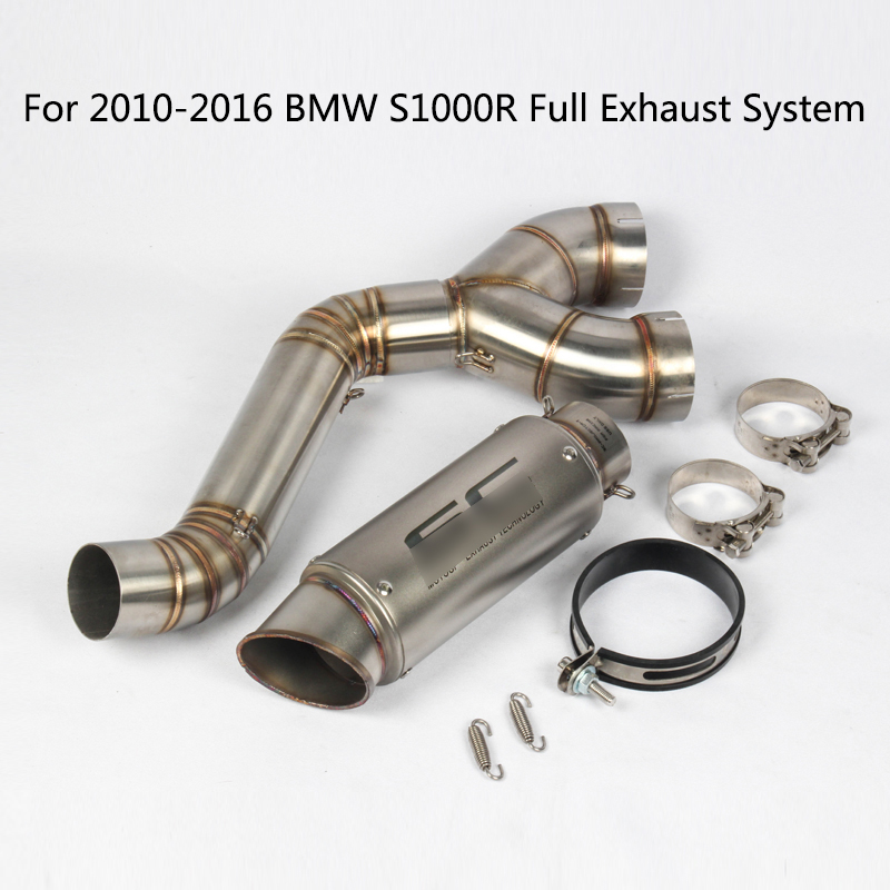 Complete <font><b>Exhaust</b></font> System for 2010-2016 BMW <font><b>S1000R</b></font> <font><b>Exhaust</b></font> Pipe Motorcycle Header Mid Pipe Slip On 51mm Rear Escape No DB Killer image