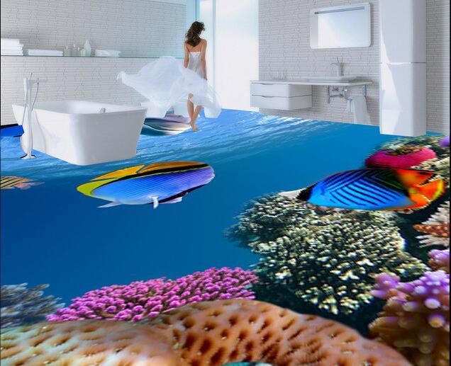 3d pvc flooring wallpaper custom waterproof self adhesion Marine reef fish in sea world bathroom 3d wall murals wallpaper