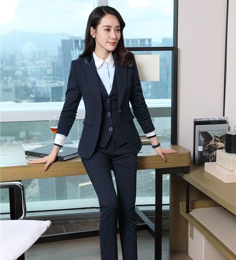 3 Piece Waistcoat Pant And Jacket Sets Formal Women Business Suits Blue Striped Blazers Vest Ladies Work Wear Uniforms Pant Suits