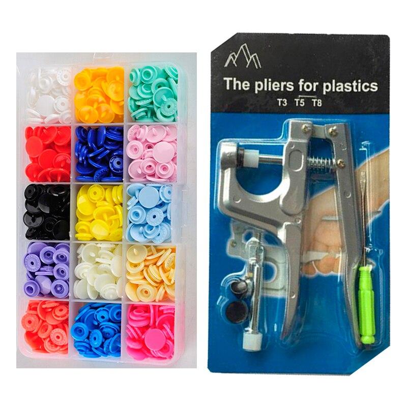 U Forma Prendedor Alicate + 150 set T5 Pano DIY Botões de Plástico Botões de Pressão de Resina Do Parafuso Prisioneiro de Imprensa Máquina Da Imprensa ferramentas de costura