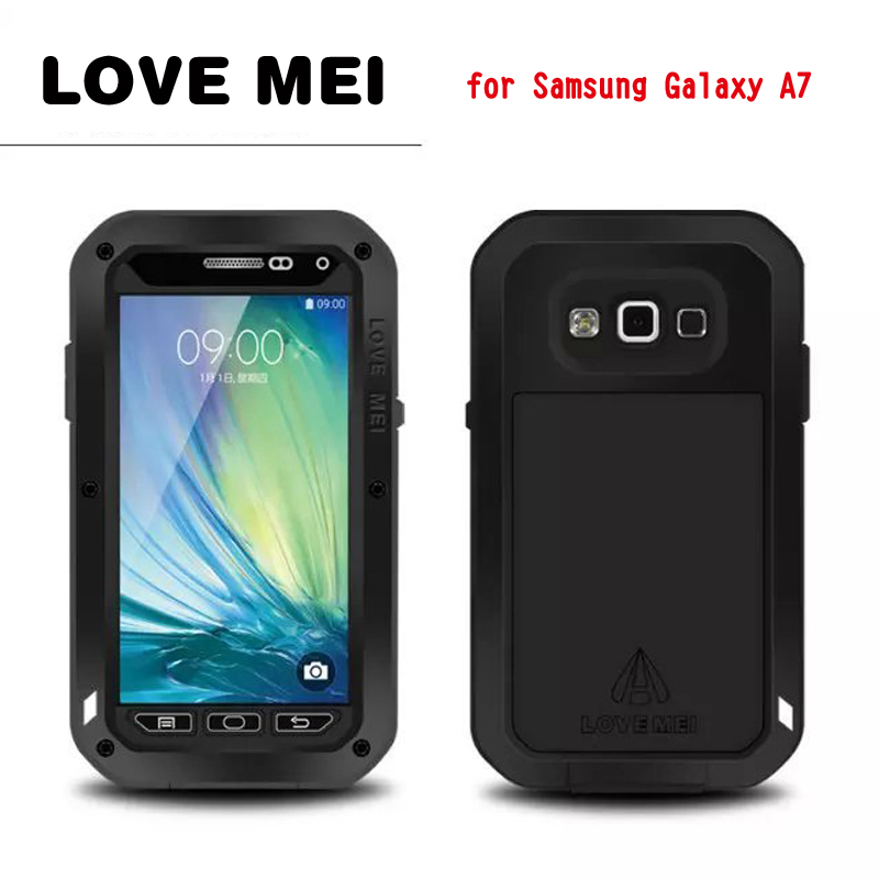 LOVEMEI Dirt resistant Anti knock Metal Aluminum Cases with Gorilla Glass for Sumsang Galaxy A7 A7000