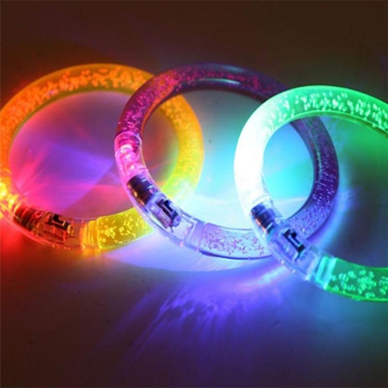 25 pcs / lot mode indah LED Multi Warna Gelembung Flashing Light Up Cahaya Mode Rave Partai Gelang Bangle