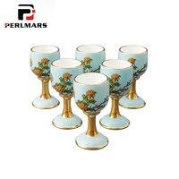 G20 15 мл китайский Стиль высокого класса Керамика фарфора Все handmade кубок сакэ Посуда для напитков дома золото чашка подарок коробка свадебны