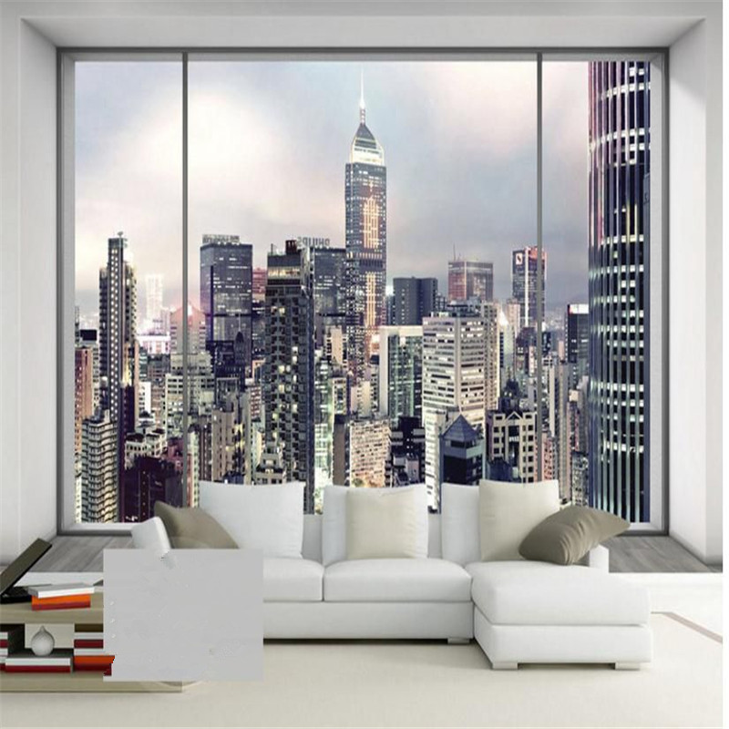 Custom Modern Style Wall Murals 3D Stereoscopic Photo Wallpapers City Night Landscape Mural for Living Room Backdrop Home Decor shinehome sunflower bloom retro wallpaper for 3d rooms walls wallpapers for 3 d living room home wall paper murals mural roll