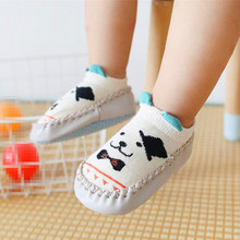 Spring and Autumn winter cartoon baby socks Baby steps Non-slip Leather Sole cotton children floor socks baby socks newborn pink cat 5 pairs baby socks spring and autumn cartoon children s socks unisex all combed cotton newborn socks 10 color