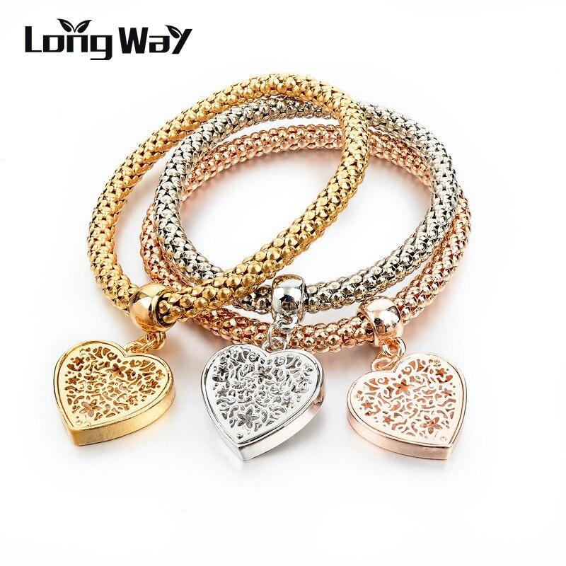 2015 New Design Gold Silver Bracelets & Bangles Fashion Heart Crystal Bracelets For Women Elastic Charm Jewelry SBR150160