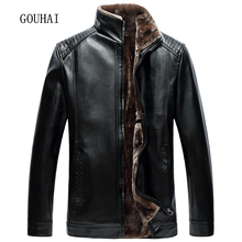 2017 New Winter Jacket Mens Leather Jacket Business Solid Stand Collar Fleece Soft Cashmere Mens Faux Fur Coats Plus Size XL-6XL