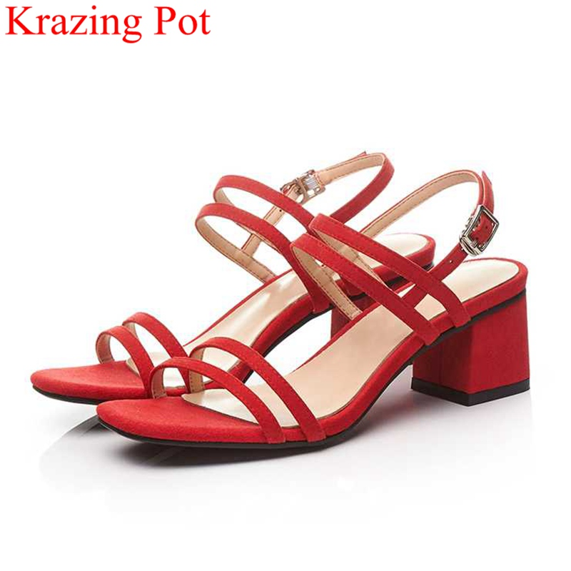 2018 fashion peep toe buckle strap red wedding shoes kid suede square heel women sandals elegant high heels summer shoes L39 elegant slip on wedges shoes women casual chunky heel summer red blue peep toe suede 2018 high heels mules platform sandals