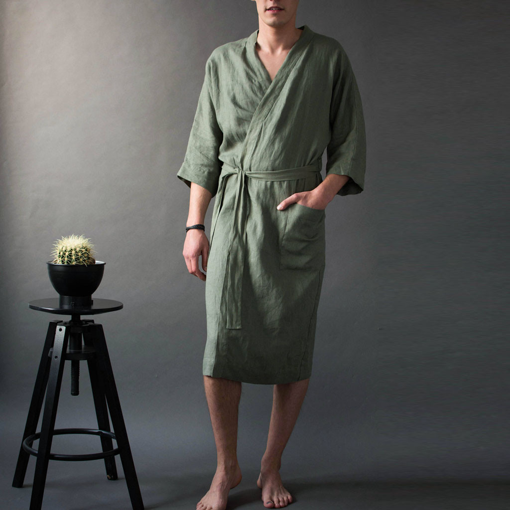 Linen Bath Robe Men's Short Sleeved Long Bathrobe Home Clothes Solid Color Pajamas Robe Kimono Homme(China)
