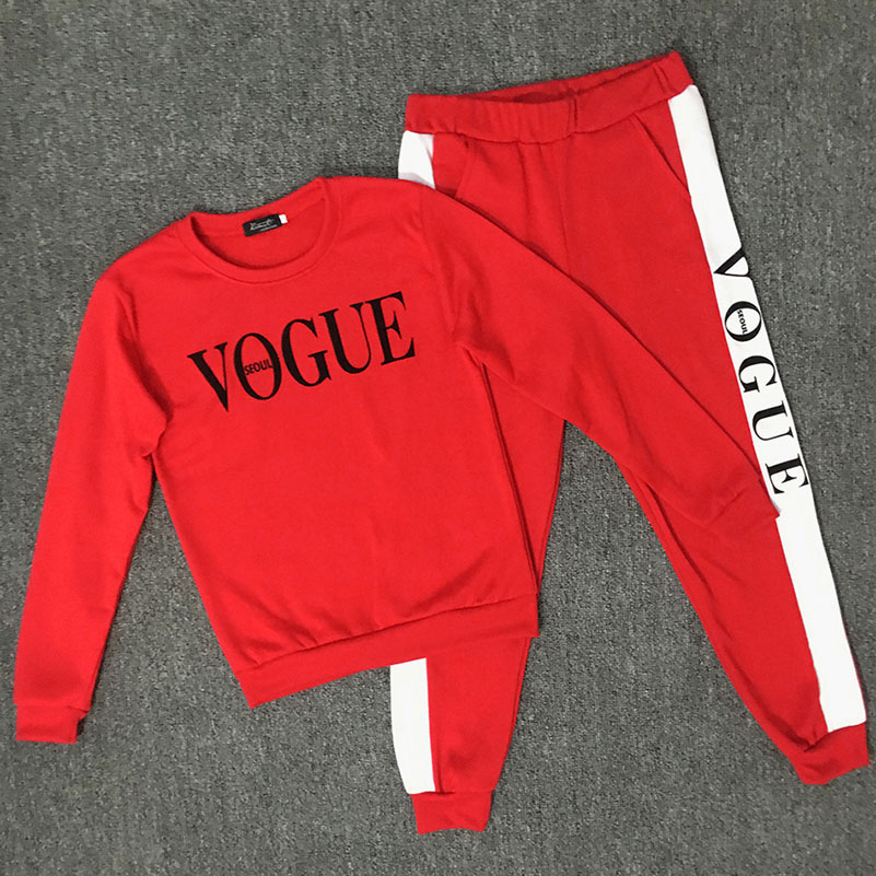 NEW Print 2 Two Piece Set Top And Pants Women Cotton Tracksuit Loose Pullovers 2018 Sweatshirt Female Suit Sportwear 15 **