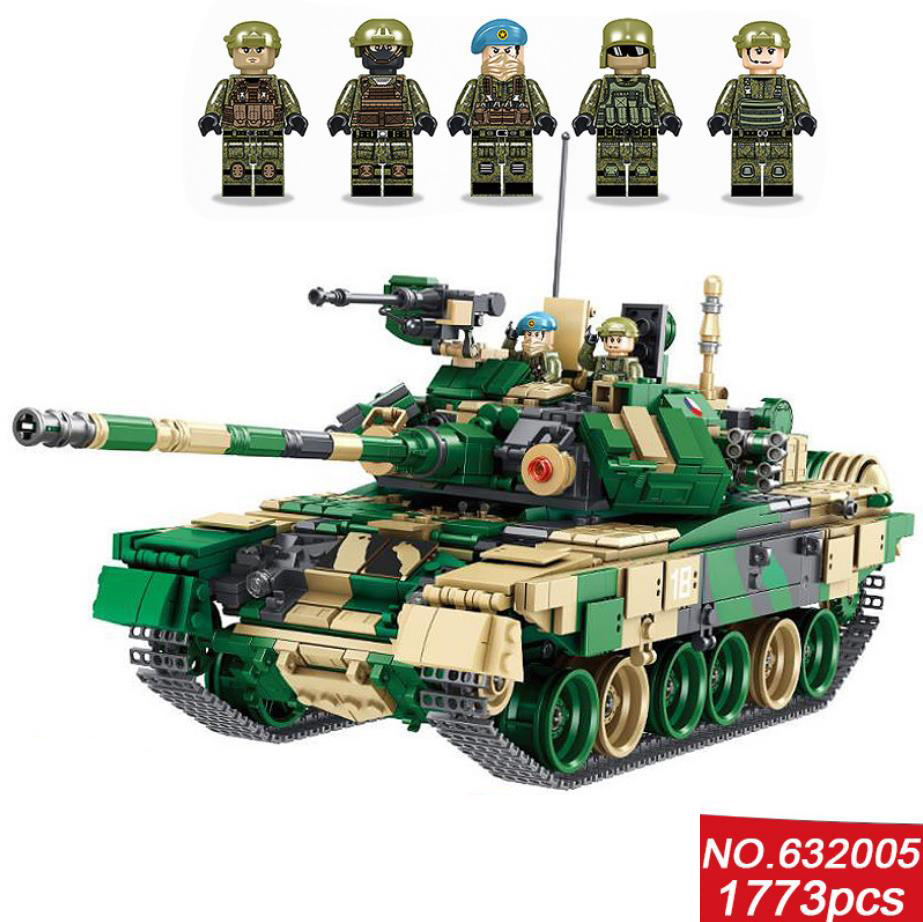 Militaire moderne russie T-90 réservoir de bataille principal moc bloc de construction ww2 batisbriques armée forces minifiges bricsk collection de jouets