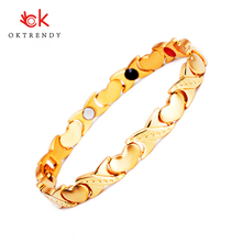 Oktrendy Healing Magnet Bracelet High Quality Stainless Steel Heart Charm DIY Jewelry 4 colors