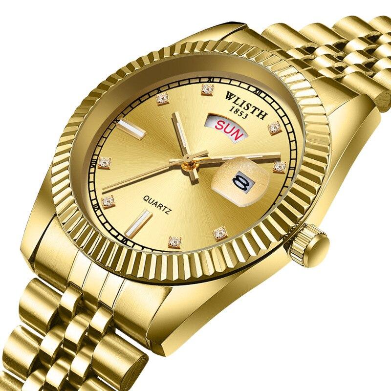 Diamond Gold Watch Men WLISTH Luxury Brand Stainless Steel Week Day Date Mens Quartz Wrist President Male Clock For Man