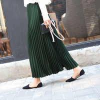 夏の女性のロングプリーツスカートグリーン韓国スタイル固体大型サイズハイウエスト弾性女性のオフィスの女性のスカートフィットホット販売
