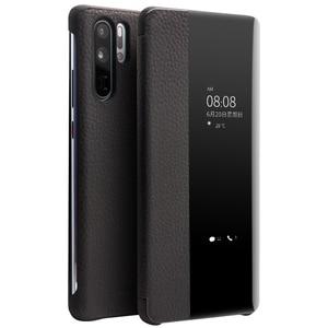 Image 1 - QIALINO אופנה אמיתי עור Flip Case עבור Huawei P30 פרו 6.47 אינץ בעבודת יד טלפון כיסוי עם חכם חלון עבור Huawei p30