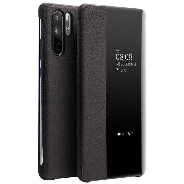 QIALINO אופנה אמיתי עור Flip Case עבור Huawei P30 פרו 6.47 אינץ בעבודת יד טלפון כיסוי עם חכם חלון עבור Huawei p30