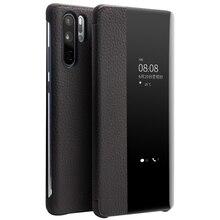 QIALINO Moda Hakiki Deri Flip Case Huawei P30 için Pro 6.47 inç El Yapımı Telefon Kapak için Akıllı Pencere ile Huawei p30