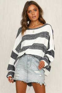 Image 3 - Fitshinling Big Size Loose Women Sweaters And Pullovers Knitwear White Grey Striped Womens Jumper Long Sleeve Pull Femme Sale