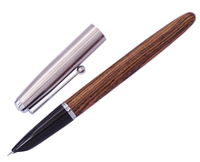 Retro Jinhao Wood Fountain Pen Tiger-Texture-Wood Stainless Steel Cap Extra Fine 0.38mm Smooth Writing Ink Pen for Office School jinhao new pretty red dragon red crystal eyes fountain pen smooth writing with push in style ink converter